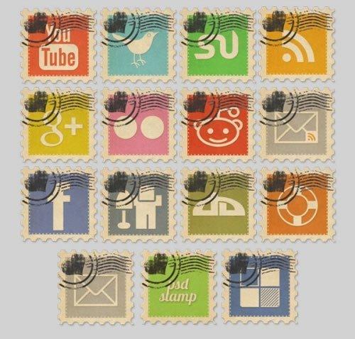 Vintage Social Media Stamps