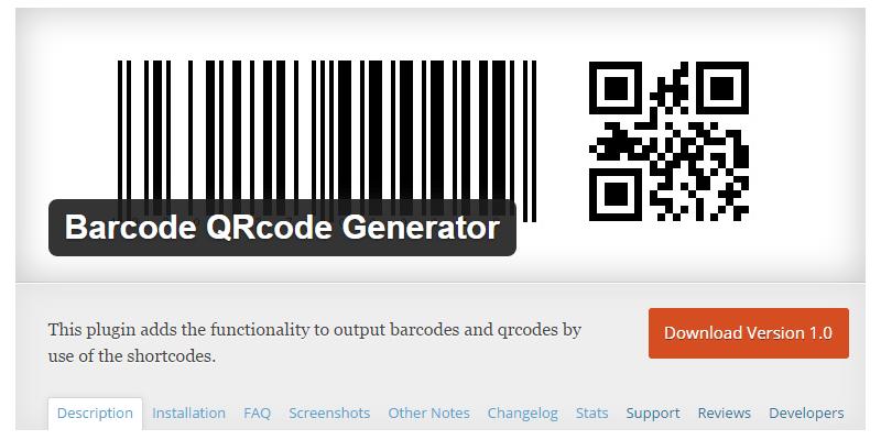 Barcode QRcode Generator Plugin