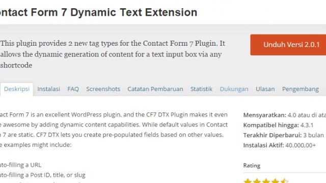 WordPress Contact Form 7 Dynamic Text Extension Plugin