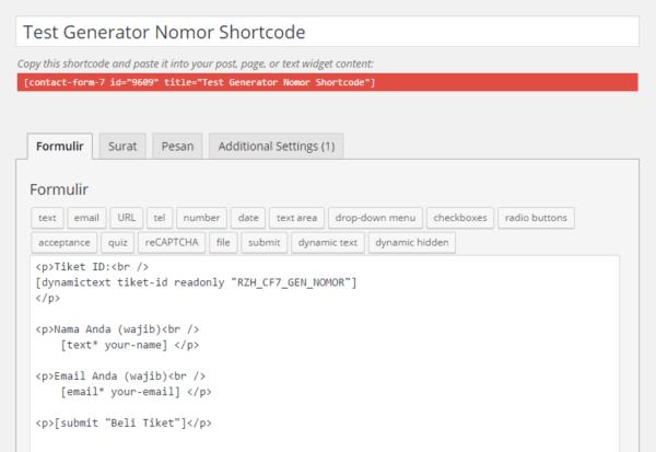 Contoh Form Kontak dengan Generate Code