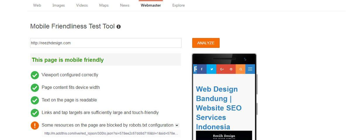 Bing Webmaster Tools Mobile Friendliness