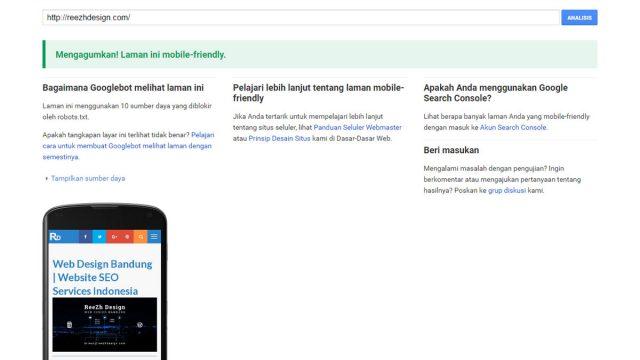 Website Mobile Friendly Google Webmaster Tools