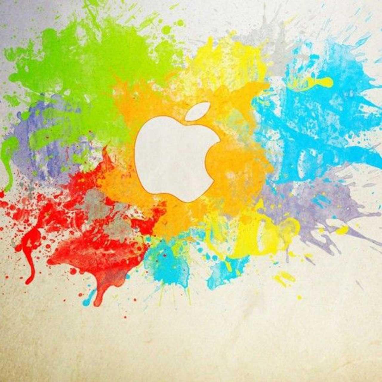 paint splatter apple logo wallpaper
